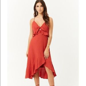 NWT RED ruffled high low cami dress small